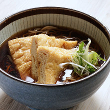 Buckwheat noodles with sweet fried tofu