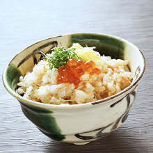 Crab rice topped with salmon roe