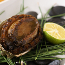 Charcoal grilled abalone