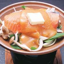 Steamed salmon and vegetables with miso sauce