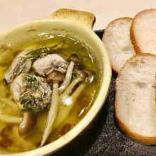 Oysters simmered in olive oil