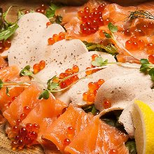 Salmon covered with salmon roe