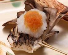 Skewered maitake mushroom tempura