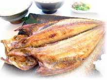 Cut and dried Atka mackerel set meal