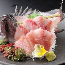 Rockfish sugata-zukuri (sliced sashimi served maintaining the look of the whole fish)