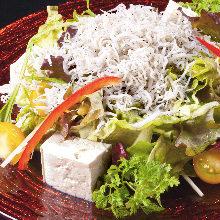 Boiled whitebait and tofu salad