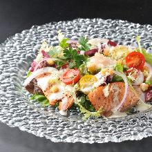 Caesar salad with seared salmon