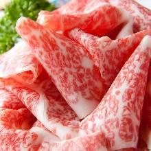 Thinly sliced rare steak