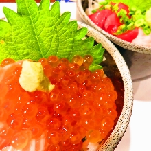 Fatty salmon and salmon roe rice bowl