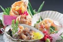Assorted shellfish sashimi