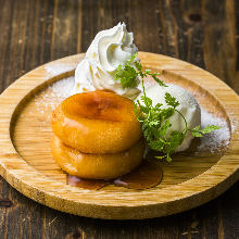 Deep-fried potato mochi with camembert cheese