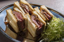 Rare beef fillet cutlet sandwich