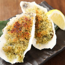 Grilled oyster with herb-crusted butter