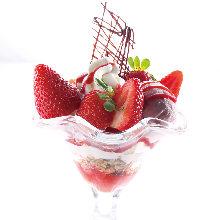 Strawberry and milk parfait