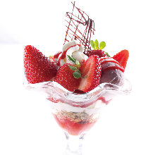 Strawberry and milk parfait