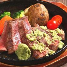 Beef tendon and green onion teppanyaki