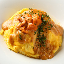 Rice omelet mixed with cheese