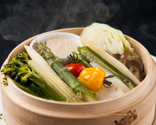 Steamed in a bamboo steamer