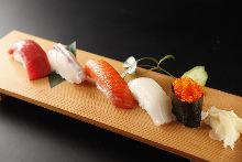Assorted nigiri sushi of the day