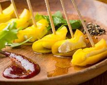 Cream cheese and smoked daikon pickles