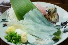 Squid sashimi cut into fine strips