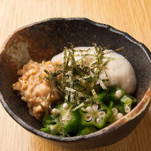 Marinated okra, natto (fermented soybeans), and grated yam