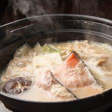 """Ishikari-style"" salmon and vegetable hotpot"