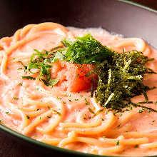 Pasta with mentaiko (marinated cod roe) cream sauce