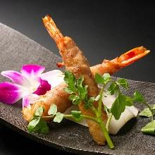 Pork-wrapped shrimp teppanyaki