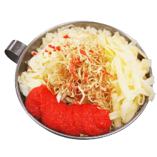 Spicy cod roe and cheese monja
