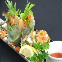 Fresh spring rolls of seafood