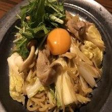 Sukiyaki with yakisoba noodles