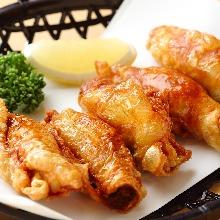 Chicken skin filled with gyoza stuffing