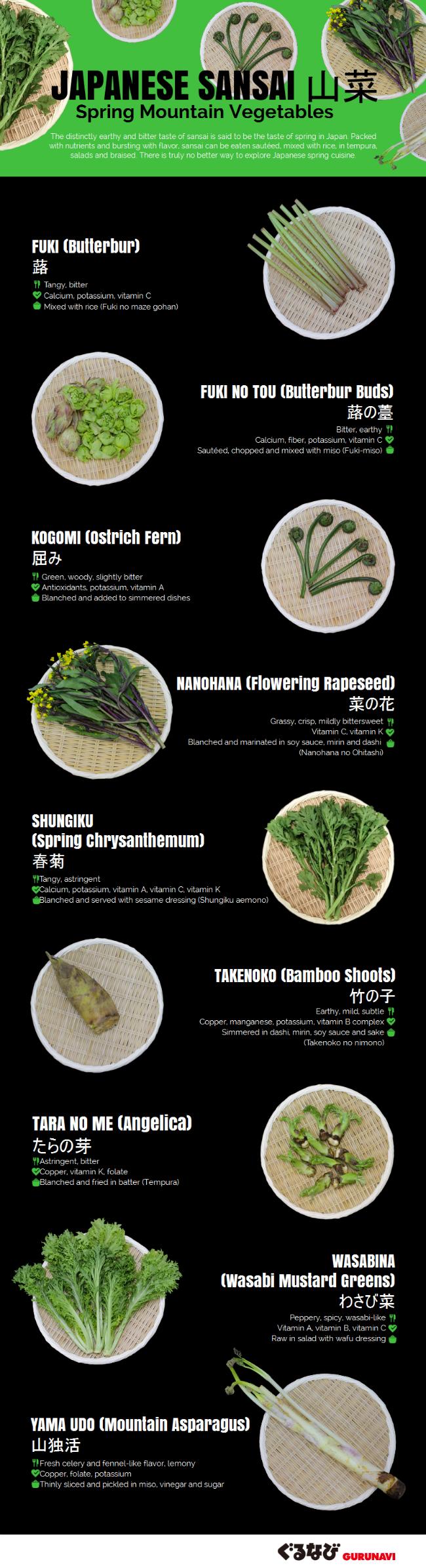 Japanese Sansai: 9 Spring Mountain Vegetables from Japan