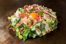 Green onion mixed okonomiyaki