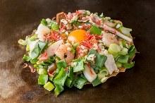 Green onion mixed okonomiyaki