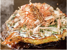 Beef and seafood okonomiyaki