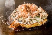 Beef and seafood okonomiyaki