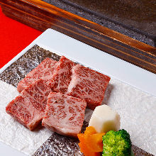 Grilled Wagyu beef on lava