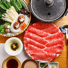 Wagyu beef shabu-shabu with vegetables