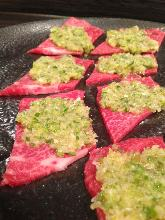Kalbi with green onion and salt