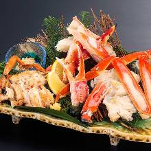 Crab platter with horsehair crab boiled fresh, red king crab, and snow crab