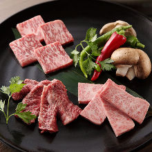 Platter of three beef dishes