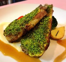Herb-crusted grilled lamb