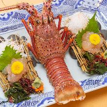 Spiny lobster sugata-zukuri (sliced sashimi served maintaining the look of the whole lobster)