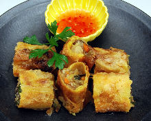 Spring rolls of layer egg