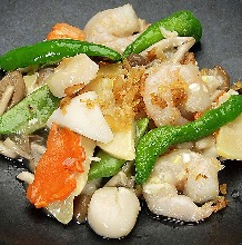 Stir-fried shrimp, squid, and scallops with XO sauce