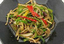 Stir-fried julienne green pepper, bamboo shoots, and scezhuan pickles