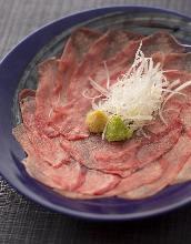 Seared beef tongue sashimi