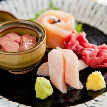 Locally raised chicken sashimi